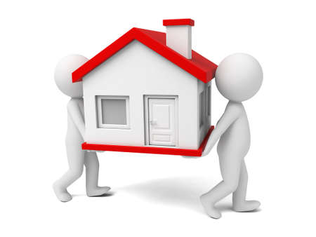 Two 3D people moving house Stock Photo