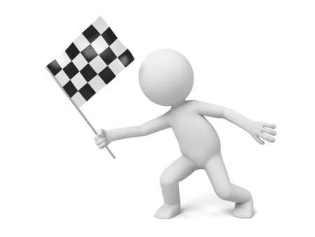 starting: The 3D guy and a chequered flag