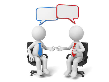 people discuss: The two 3D people sit together and chat