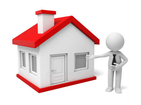 to sell: The 3D guy has a house to sell Stock Photo
