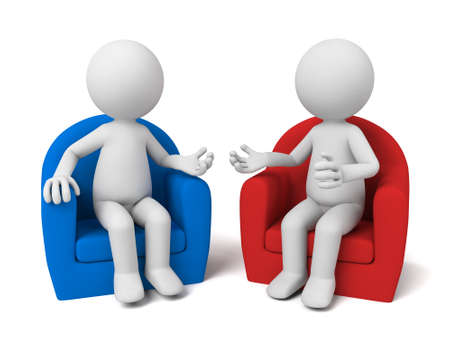 The two 3D people sit together and chat