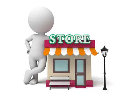 store: Il ragazzo 3d e il suo negozio Archivio Fotografico