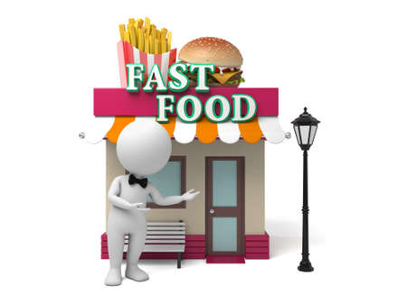 fast food restaurant: The 3d guy and his fast food restaurant