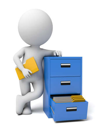 3d guy: The 3D guy and a document cabinet