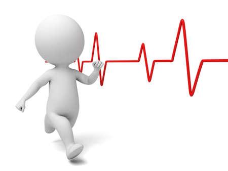 elettrocardiogramma: Il ragazzo 3d ed elettrocardiogramma battito cardiaco
