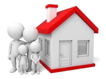 family house: The 3d guys family Stock Photo