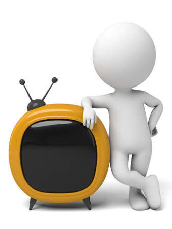 telecast: The 3d guy and a television Stock Photo