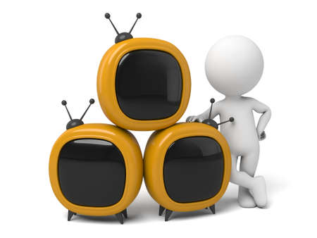 telecast: The 3d guy and a lot of televisions