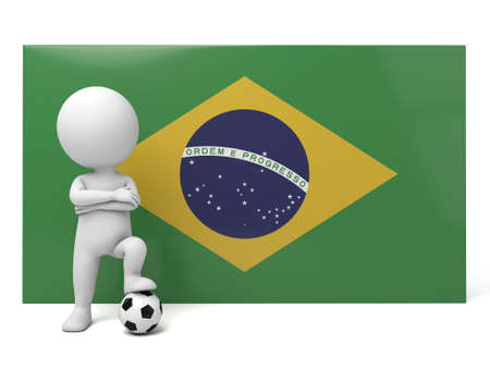 football player: The 3d guy as a Brazil football player Stock Photo