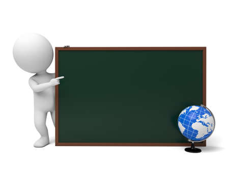 3d guy: The 3d guy and a blackboard