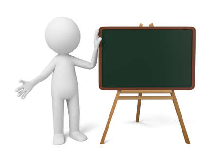 explain: The 3D guy and a blackboard Stock Photo
