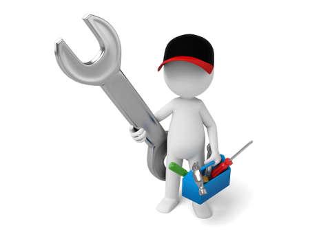 The 3D guy is a mechanic 版權商用圖片