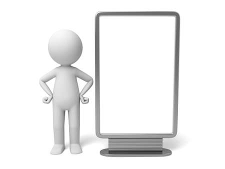 ad board: The 3D guy and an ad board