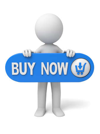 buy: The 3D guy and a buy now sign Stock Photo