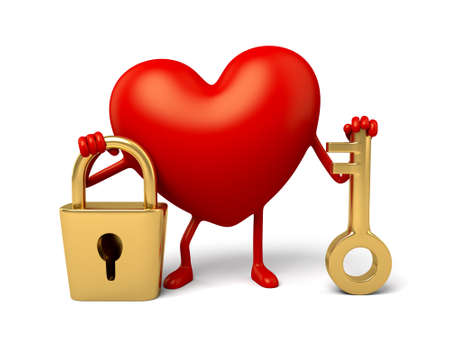 lock symbol: The 3d heart took the key and the lock