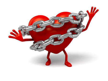 enthusiastic: The 3d heart was locked up in chains