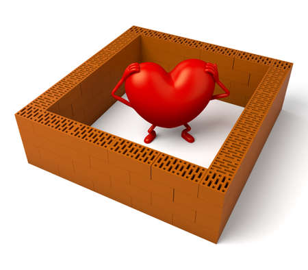 trapped: The 3d heart was trapped by the wall Stock Photo
