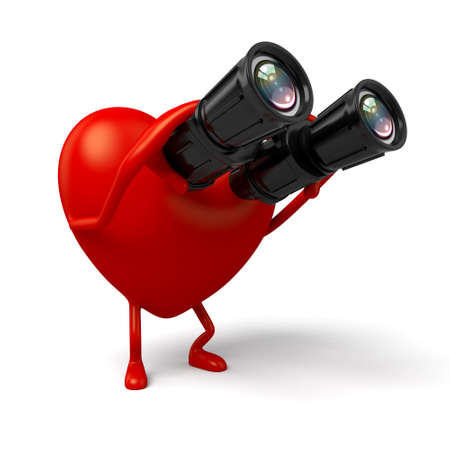 looked: The 3d heart looked through the telescope Stock Photo