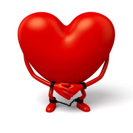 imprison: The 3d heart is a prisoner Stock Photo