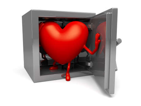 safety box: The 3d heart and a safety box