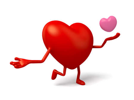 enthusiasm: The 3d heart giving love Stock Photo