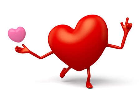 3d heart: The 3d heart giving love Stock Photo