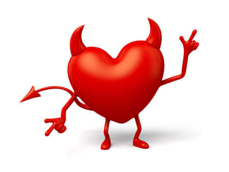 enthusiasm: The 3d heart is a devil Stock Photo