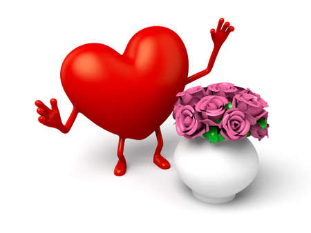 3d heart: The 3d heart and a vase of flowers
