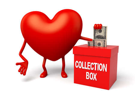 3d heart: The 3d heart and a collection box