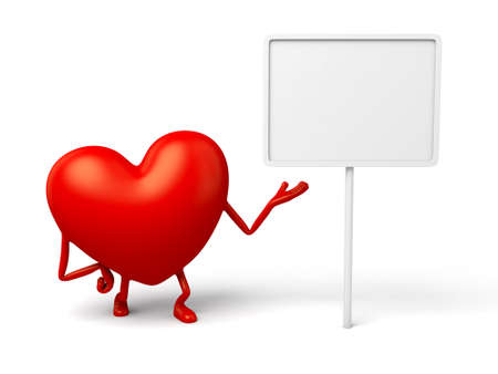 3d heart: The 3d heart and a board