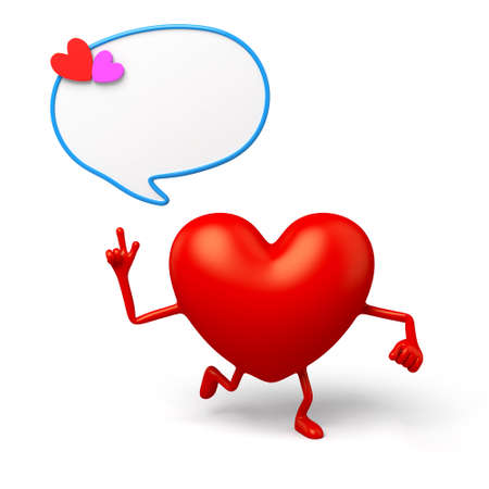 dialog box: The 3d heart and a dialog box Stock Photo