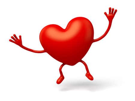 3d heart: The 3d heart made a hand gesture