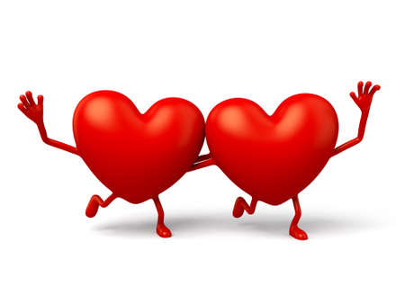 two hearts together: two 3d hearts stood together hand in hand