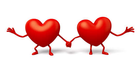 stood: The two 3d hearts stood together hand in hand