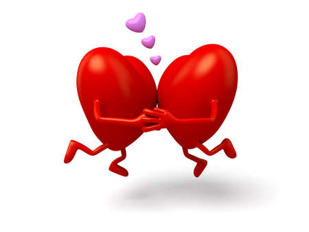 embraced: The two 3d hearts embraced for a kiss