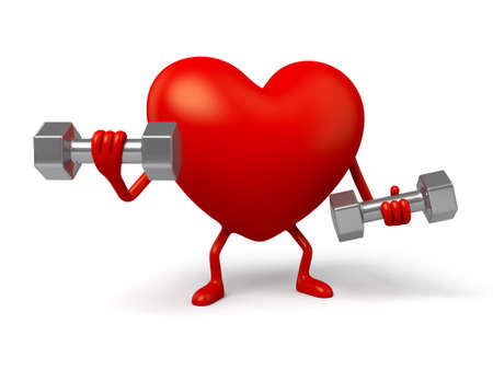 gym: The 3d heart and a pair of dumbbell Stock Photo