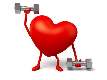 3d heart: The 3d heart and a pair of dumbbell Stock Photo