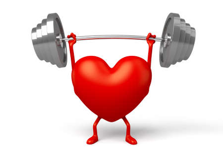 3d heart: The 3d heart and a barbell Stock Photo