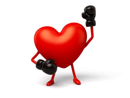 De 3d hart is een bokser