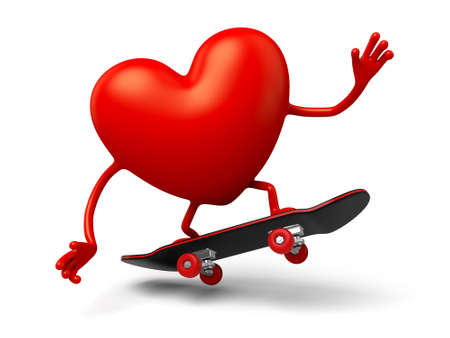 enthusiasm: The 3d heart is playing with a slide