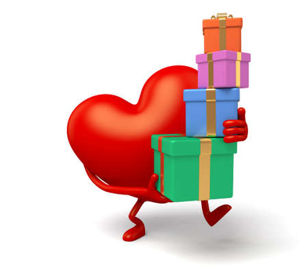 enthusiasm: The 3d heart and a lot of gift boxes