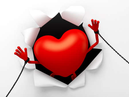 enthusiasm: The 3d heart is a prisoner Stock Photo