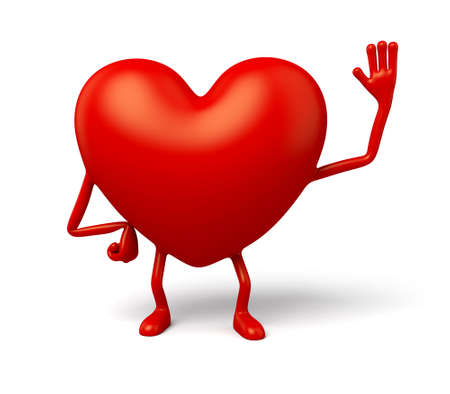 enthusiasm: The 3d heart say hi Stock Photo