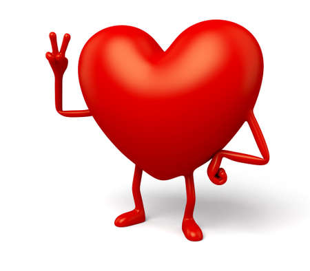 enthusiastic: The 3d heart made a hand gesture