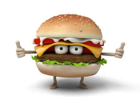 suspicion: The 3d hamburger show thumbs up Stock Photo