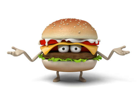short order: The 3d hamburger with hand gesture Stock Photo