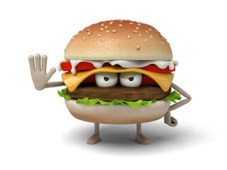 suspicion: The 3d hamburger with hand gesture Stock Photo