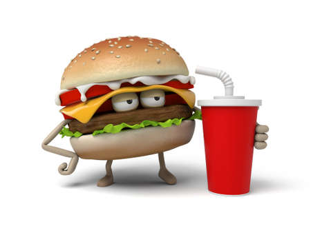 short order: The 3d hamburger and a cup of cola Stock Photo