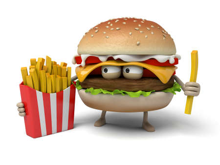 short order: The 3d hamburger and some fries