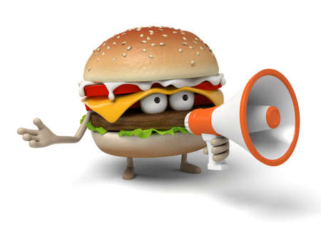 informing: The 3d hamburger and a loudspeaker Stock Photo